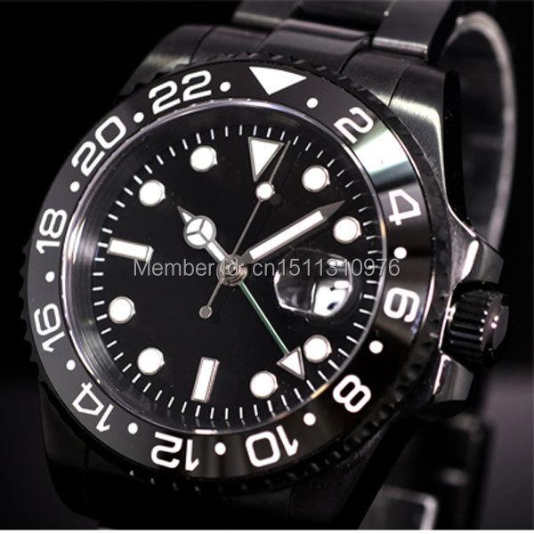parnis luminous PVD GMT vintage sapphire automatic movement mens watch P09