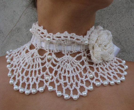 Crocheted white pearl choker, necklace, wedding necklace, bridal wrap, wedding accessory 2pcs/lot