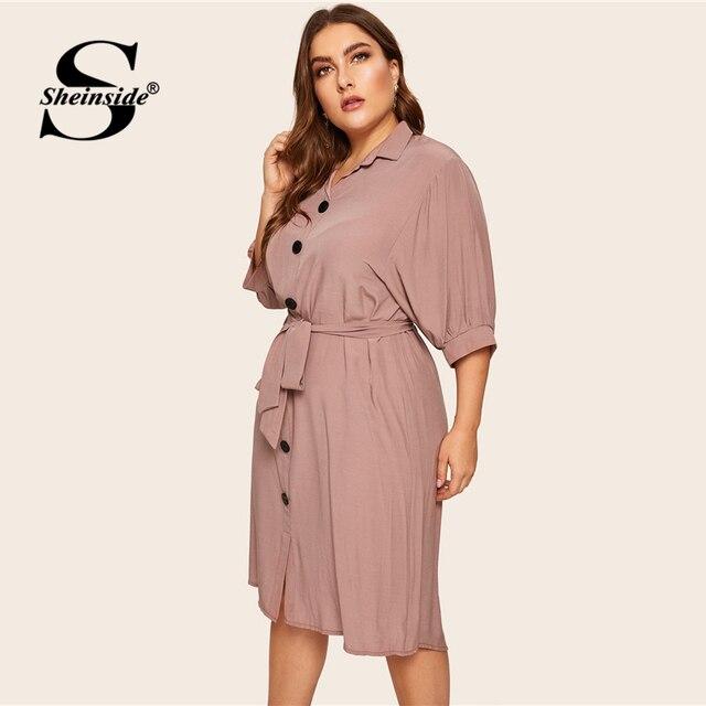 Sheinside Plus Size Casual Button Detail Shirt Dress Women 2019 Spring Half Sleeve Straight Dresses Ladies Solid Midi Dress 2