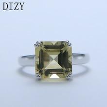 DIZY Natürliche Octagon 4,6 CT Grüne Zitrone Quarz Solide 925 Sterling Silber Edelstein Ring für Frauen Geschenk Hochzeit Engagement Schmuck