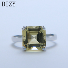 DIZY Natural Octagon 4.6CT Green Lemon Quartz Solid 925 Sterling Silver Gemstone Ring for Women Gift Wedding Engagement Jewelry