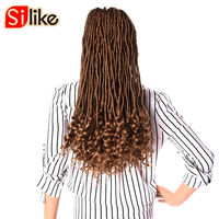 Silke 3 Or 6 Packs 24 Roots Faux Locs Curly Crochet Braids Hair 20 Inch Pure