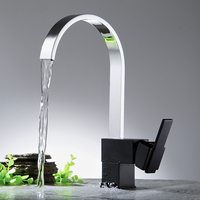 Polished Chrome Square Brass Single Handle Kitchen Faucet Mixe Tap 360 Swivel Spout Hot And Cold