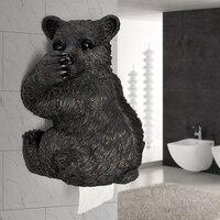 Modern Resin Bear Paper Holder Crafts Toilet Paper Holder Decoration Bathroom Waterproof Paper Holder Wall Hanging Ornaments Art