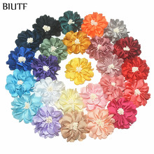 100pcs/lot 4.5cm Handmade Fabric Flower with Center DIY Boutique Headband & Hairpin Accessories On Sale TH233