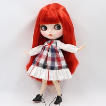 Factory Neo Blythe Doll Straight Red Hair Jointed Body 30cm