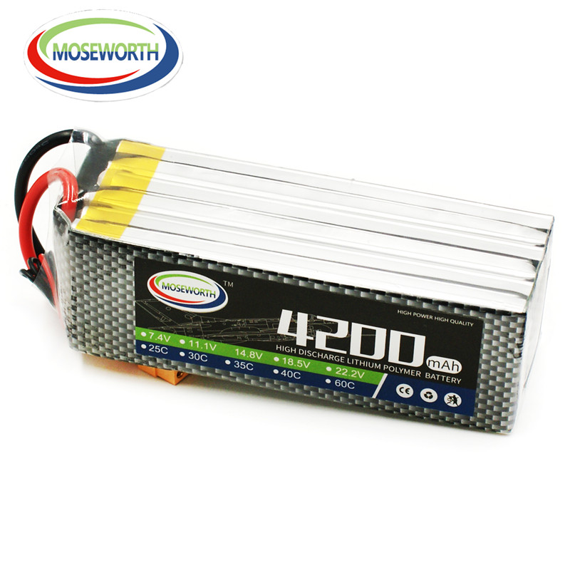 MOSEWORTH 6S RC lipo battery 22.2v 4200mAh 40C For rc airplane quadcopter boat 6s lithium batteria free shipping 1s 2s 3s 4s 5s 6s 7s 8s lipo battery balance connector for rc model battery esc