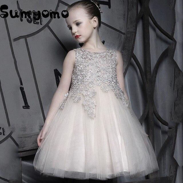 Новинка 2017 года Праздничное платье для девочек вышитые Формальные невесты свадебное девушка Рождество принцессы бальное платье Детская одежда День рождения