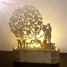 PATIMATE  Rustic Wedding Decoration for Weddings Party Wooden Ornaments MR MRS Heart-Shape Light Decors Home Supplies