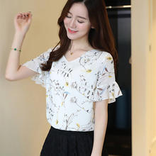 2019 New Summer Women Short Bell Sleeve Floral Print Office Work Lady Loose Chiffon Shirt Women Tops And Blouses Plus Size(China)