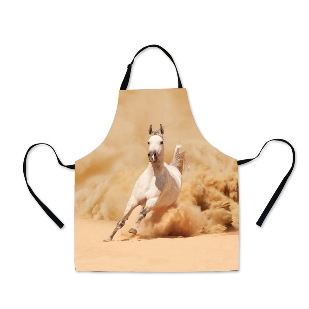 Dispalang Hot Selling Novelty Lady Apron High Quality 3D Horse Unicorn Animal Prints Polyester Female Kitchen Aprons For Women