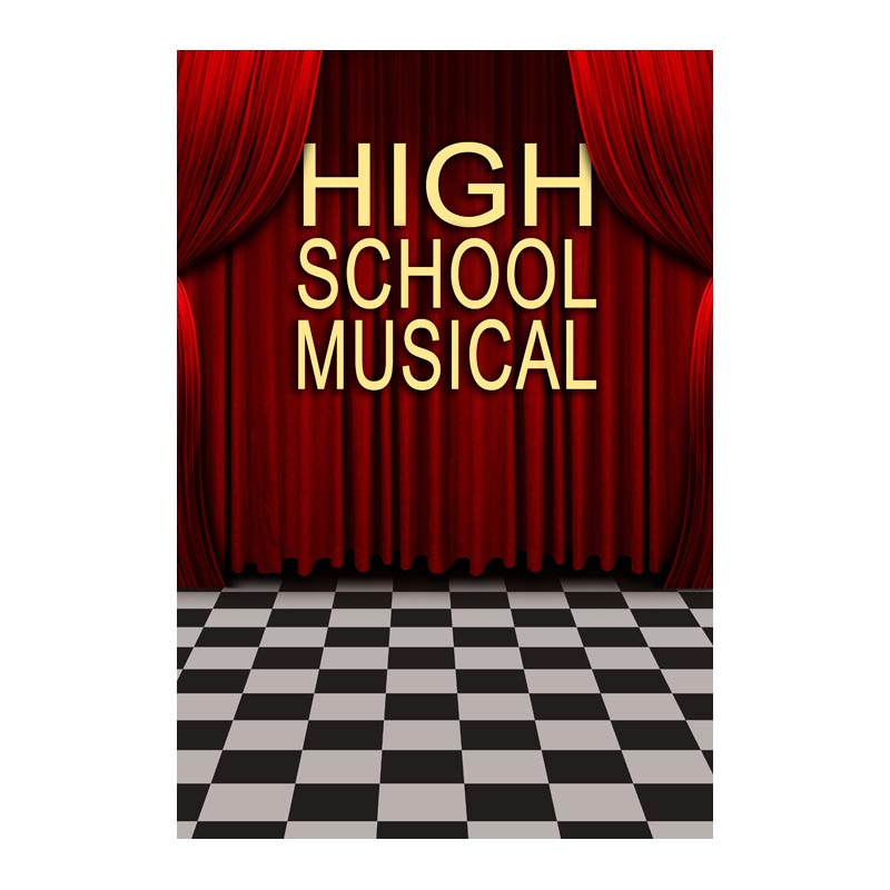 5X7ft Thin vinyl high school musical red curtain black and white floor photography backdrop Customize for school student disney mix max high school musical movie