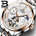 Швейцарские механические часы для мужчин Бингер роль Бизнес Мода Мужские часы Скелет наручные автоматические мужские часы водонепроницае...
