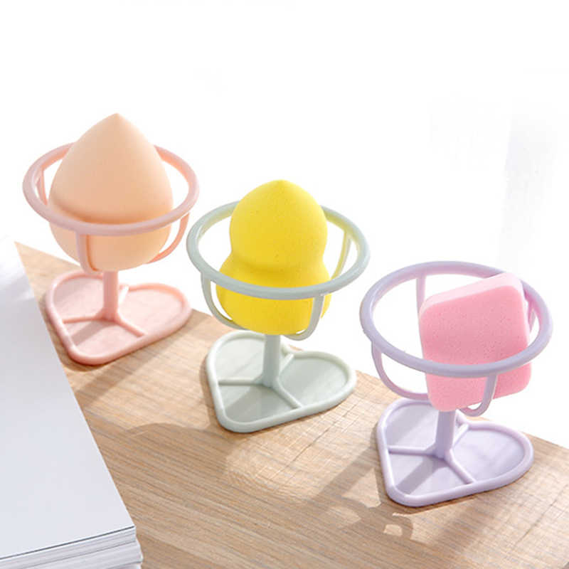 1 pçs pó puff titular puff maquiagem ovo espuma rack de armazenamento esponja secagem suporte em forma de coração base organizadores