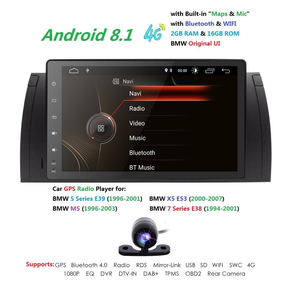 9 pouces Android 8.1 pour bmw E39, X5, M5, E53 voiture pas dvd, gps, wifi, 4G, radio RDS, canbus, 7388, quad core, 1024x600, soutien obd2, dvr, la russie