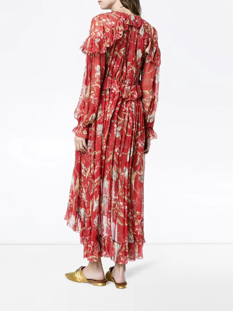 100% Silk Woman Dress 18 Spring Summer Red Floral Print Ruffle Long Sleeve Deep V Neck Sexy Slim Midi Dresses For Party 6