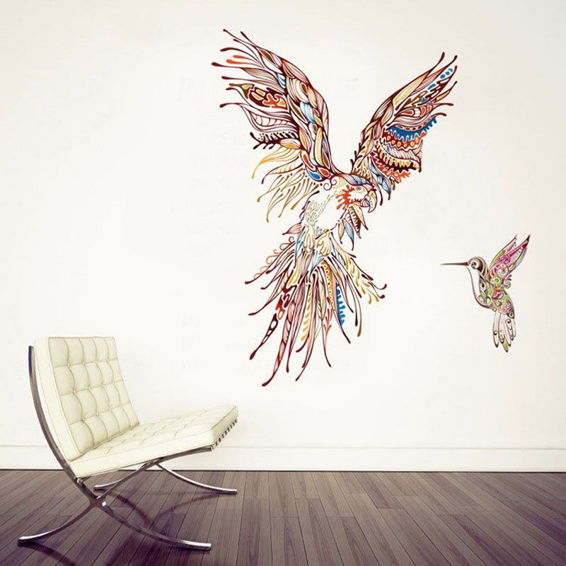 Home Decor Diy Image Painting Parrot Bird Wall Sticker Home Decal Feather Sofa Background Room Decoration