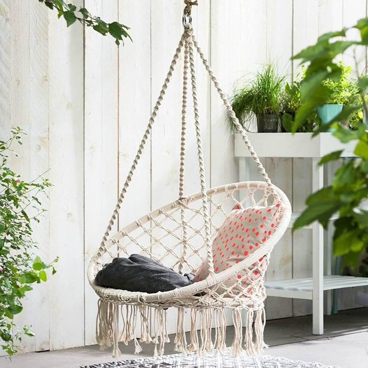 KiWarm Round Hammock Outdoor Indoor Dormitory Bedroom Children Swing Bed Kids Adult Swinging Hanging Single Chair Hammock