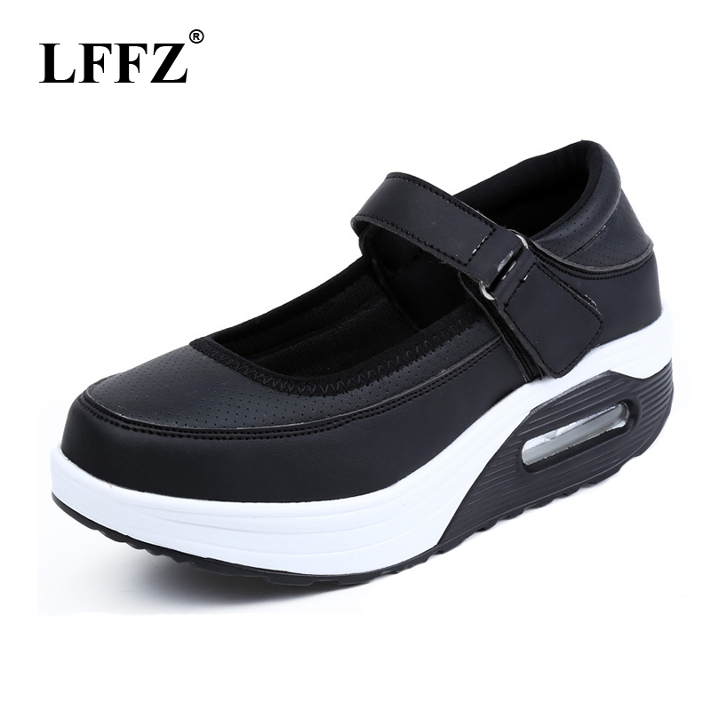 LFFZ 2018 New Women Sneakers Breathable Casual Shoes Height Increased PU Leather Wedges Shoes Thick heel Women Flats JH125 цена