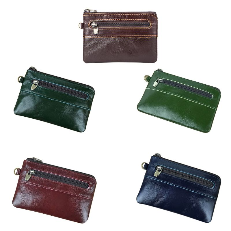 Fashion Men Leather Bag Key Change Zipper Pocket Coin Purse Holder Organizer