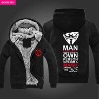 BOOCRE Zima V Jak Vendetta Maska Vendetta Rangers Mężczyźni Bluzy Z Kapturem Zagęścić Bluzy Na Zamek Błyskawiczny Odzieży Wierzchniej Kurtki Bluza Z Kapturem Z Polaru