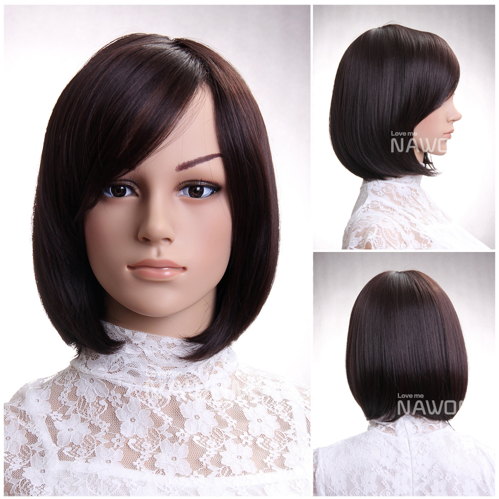 Hot Sale Fashion Chestnut Side Swept Bangs Neck Length Hairstyle ...