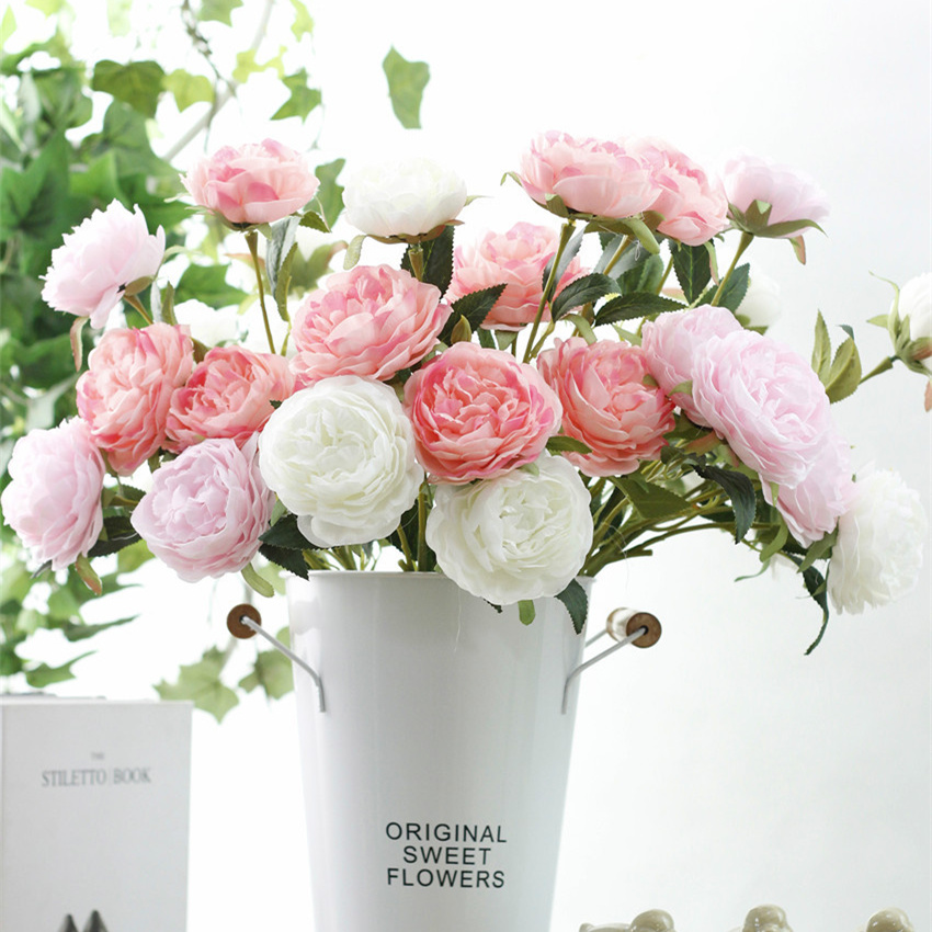 5 pièces fleur de pivoine rose artificielle fleurs de soie pour bricolage décoration de mariage printemps décor à la maison fleur artificielle faux