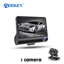 Автомобильный видеорегистратор ADDKEY, 3 объектива камеры, 4,0 дюймов, видеорегистратор, Автомобильный регистратор, двойной объектив с камерой заднего вида, видеорегистратор