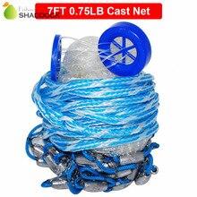 7 Feet Radius 0.75LB Fishing Cast Net American Heavy Duty Real Lead Weights Hand Throwing Trap Net With Plastic Bucket