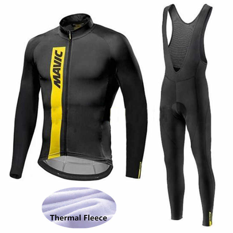2018 NEW Mavic Pro Winter thermal Fleece MTB Bicycle Clothing Warm Bike Clothes Bib Pants Cycling Jersey Clothes 9D pad team