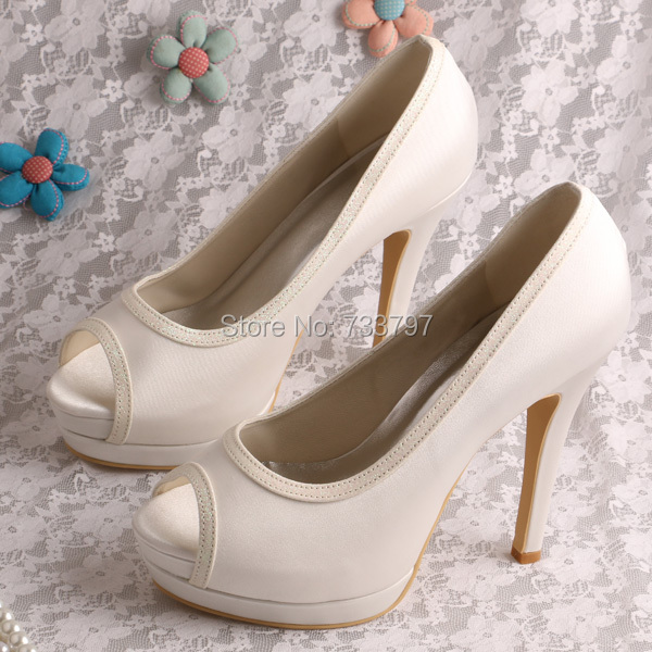 Wedopus Double Platform Ivory Satin Spring Shoes Beautiful Dress Shoes Wedding Dropship