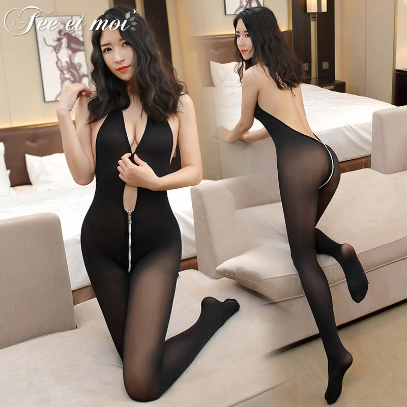 2018 New Fashion Sexy Backless Bodysuit Elastic Velvet Erotic Sex Lingerie Open Bra Crotch with Zipper Tights Nightgrown