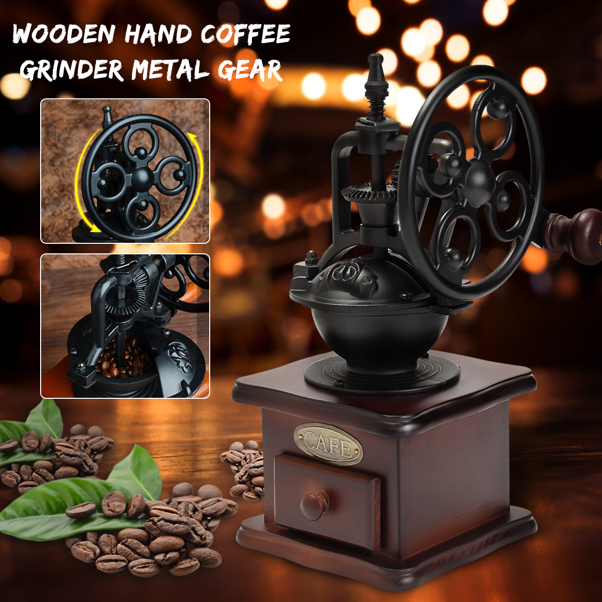 Ferris Wheel Design Vintage Manual Coffee Grinder With Ceramic Movement Retro Wooden Coffee Mill Coffee Bean Grinding Machinen контейнер для приготовления на пару redmond ram st3