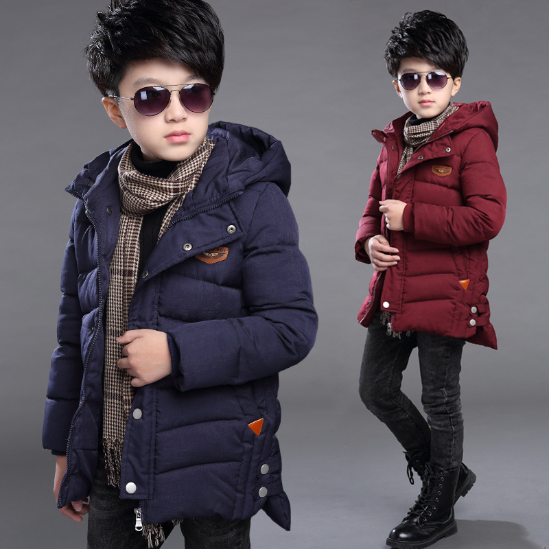 2017 Winter Children Clothing Boy Cotton-padded Coats Teenage Boy Warm Cotton Jacket Boy 5-15T Casual Cotton Parkas with Hooded 2017 winter children duck down coats real fur hooded parkas mid length clothing girls baby cotton padded trech coats warm jacket
