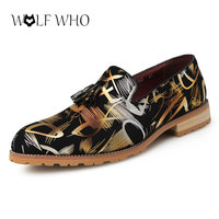 WolfWho New Men Shoes Summer Youth Fashion Tassel Loafers Men Slip On Party Night Club Shoes