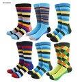 Novo colorido stripe summer rainbow meias estilo meias de algodão dos homens quentes do homem skate meias presentes de casamento grande eua tamanho (7.5-12)