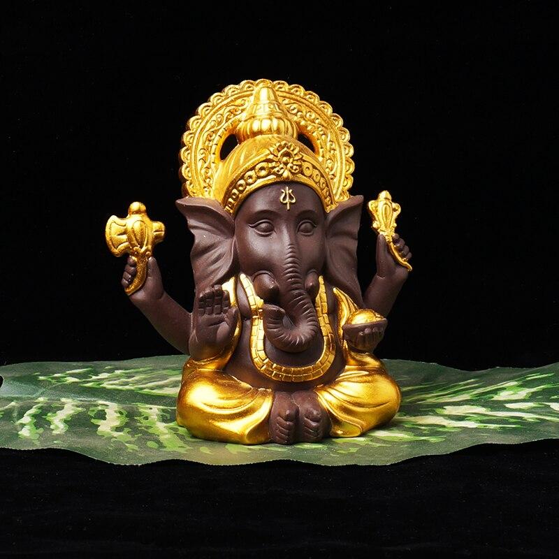 Ganesha serie hogar Decoración Buda figura estatua cerámica decoración arena púrpura blanco porcelana elefante Buda Reflujo de incienso quemador creativo decoración del hogar cerámica Buda incienso titular incensario budista + 20 piezas conos de incienso regalo gratis