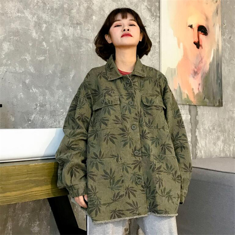 2019 Spring Camouflage green   jacket   women casual long sleeve loose   jacket     basic     jacket   outwear r794