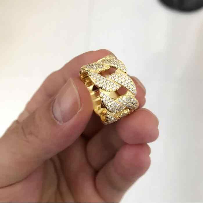 2018 oferta specjalna Anillos rozmiar amerykański 8-10 Hip Hop Bling wypełniony kubański Link projekt łańcucha najwyższej jakości mężczyzna Micro Pave Cz duży pierścień