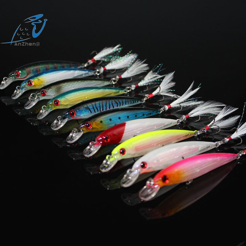 ANZHENJI Hot RU 9CM/8G Lure Kit fish tackle artificial hard bait plastic lures swimbait wobbler feather Minnow Fishing lure 30pcs set fishing lure kit hard spoon metal frog minnow jig head fishing artificial baits tackle accessories