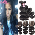Body Wave Lace Closure with Hair Bundles 6A Indian Virgin Hair 4 Bundles with Closure Indian Body Wave Hair with Closure 5 Piece