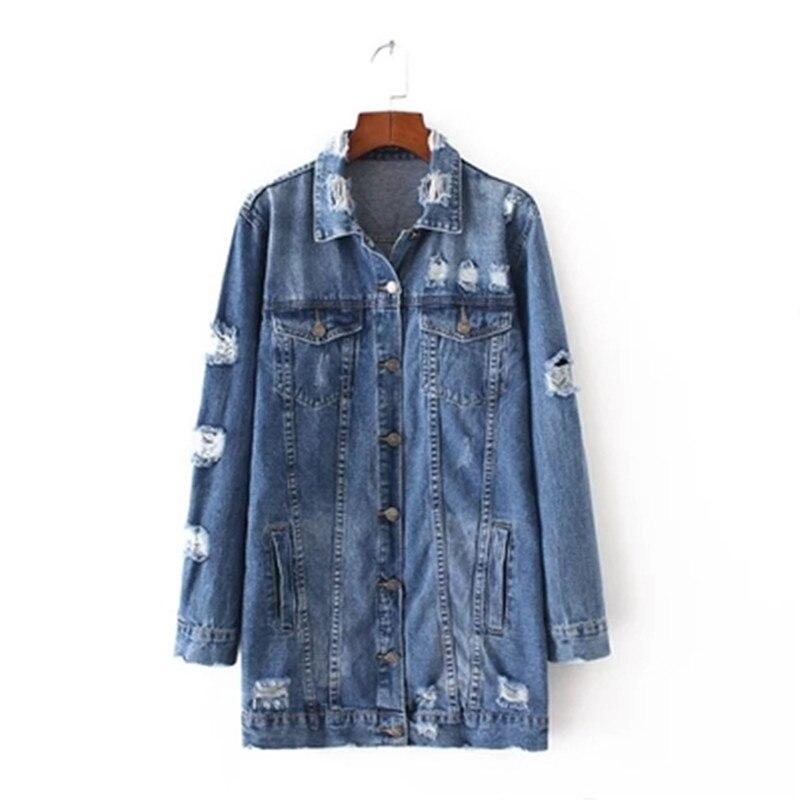 2017 Denim Jackets Women Hole Boyfriend Style Long Sleeve Vintage Jean jacket Denim Loose Spring Autumn Denim Coat Jean ZY3021