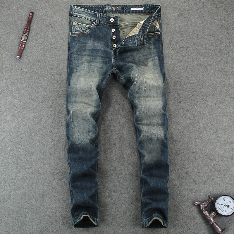 ФОТО New Mens Buttons Jeans Slim Fit Denim Blue Pants Uomo Mid Stripe Quality Designer Brand Clothing Moto Jeans Men RL612