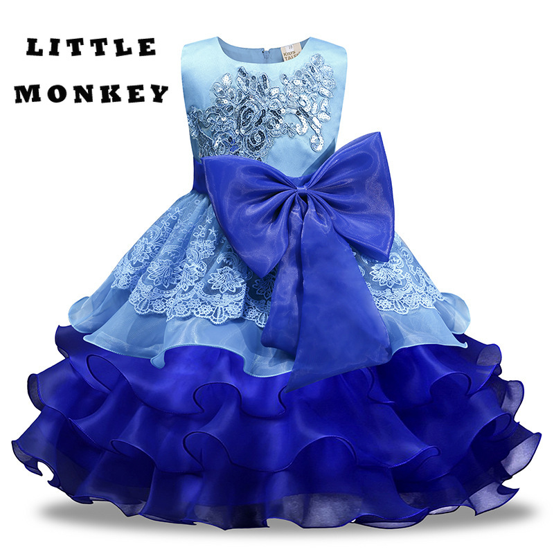 A Line Elegant Kids Girls Dresses Wedding Pageant Outfits Princess Party birthday Dress Girl Clothes baby hoodie dress for 2 10y