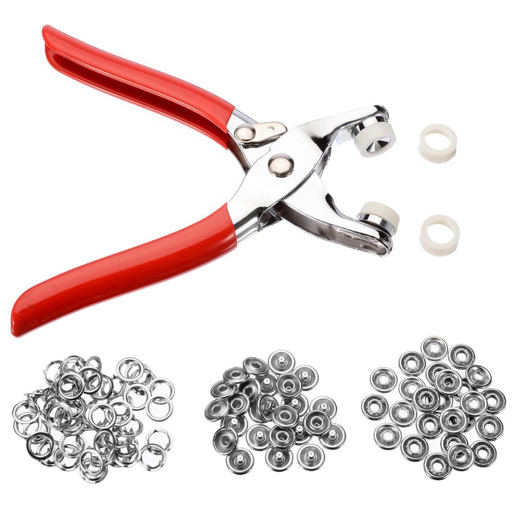 100 stücke 9,5mm Metall Prong Ringe Tasten Druckknöpfen Druckknöpfe + Zange DIY Tool Kit für Kleidung