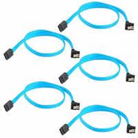 5 piezas SATA 3,0 III 6 Gb/s 46 cm Disco Duro Cable recto 90 grados de ángulo recto Cables HDD línea de cable ATA serie de datos SSD