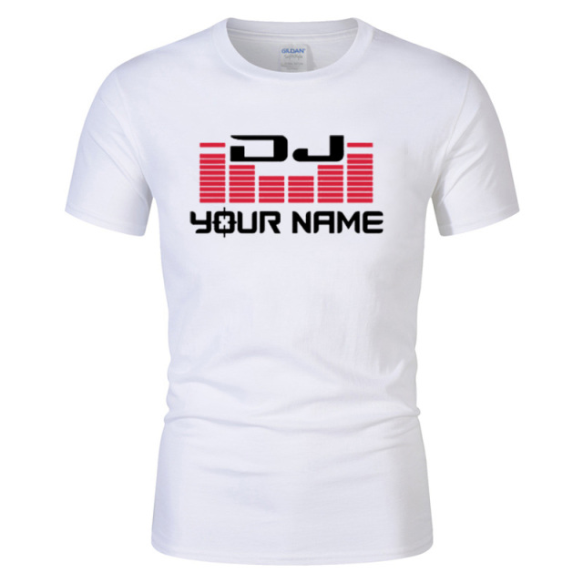 DJ Your Name Men's Custom printing T Shirt Camiseta Hombre Hip Hop Fashion men's Cotton Casual Short Sleeve T-shirt Plus Size