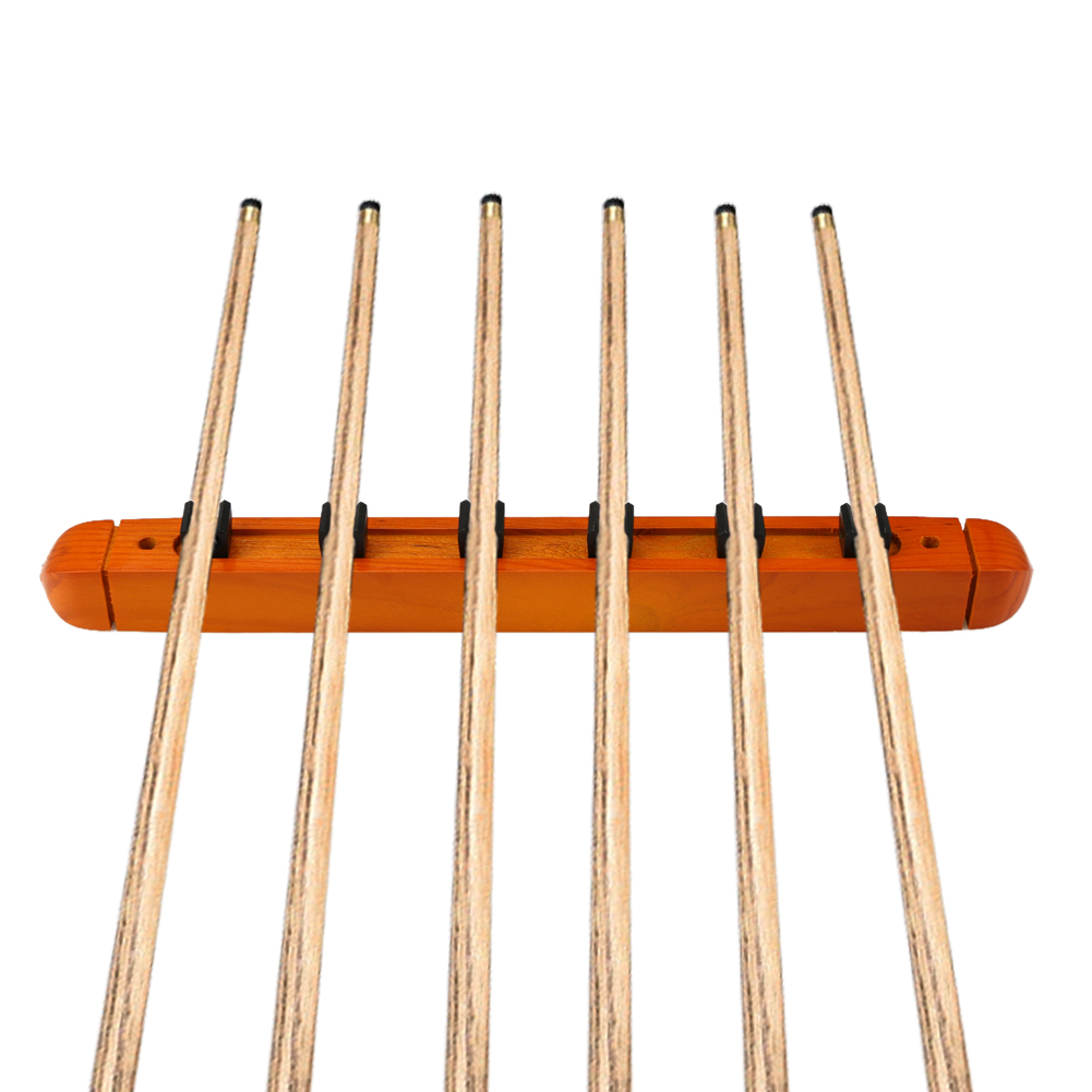 1 Pair Billiard Pool Wall Mount Hanging 6 Cue Sticks Solid Wood Rack Professional and Holder for Snooker High Quality