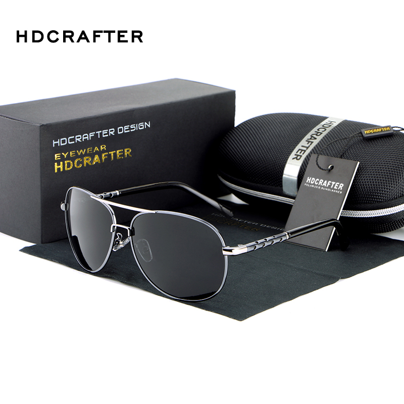 HDCRAFTER High Quality Fashion Men's Driving Sunglasses 100% Polarized Aluminum Alloy Frame Glasses Eyewear Accessories For Men