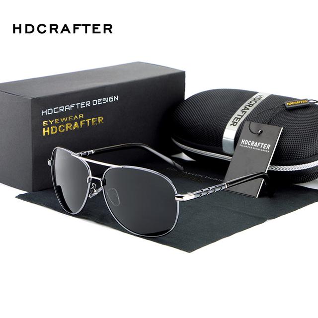 Hdcrafter condução óculos de sol dos homens de alta qualidade da moda 100% acessórios de alumínio frame da liga de óculos polarizados para homens